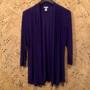Chico's Travelers Pleated long drape Jacket, $30